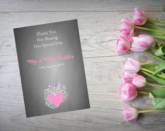 Personalised Wedding Thank You Cards with Matching Envelopes Pack Of 10 TY59