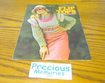 Flip Tops to crochet, by Columbia Minerva, Leaflet #2549, photos and directions for 5 different  designs. how to books, craft patterns