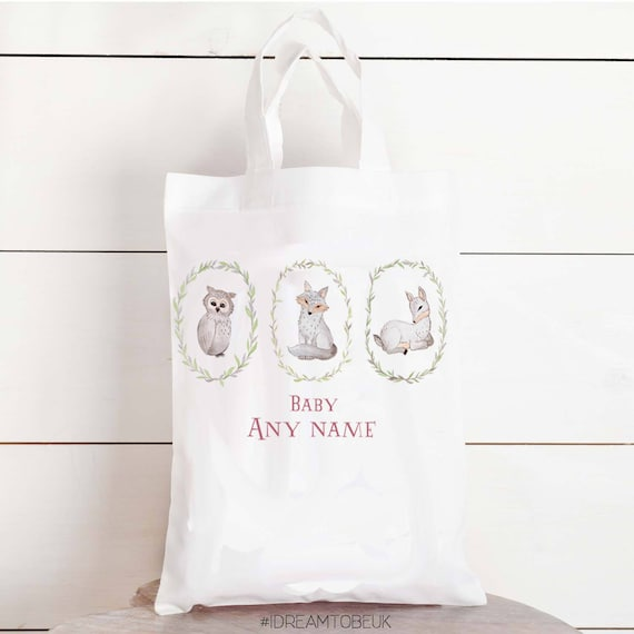 Woodland animal personalised baby gift bag baby shower gift negle Image collections