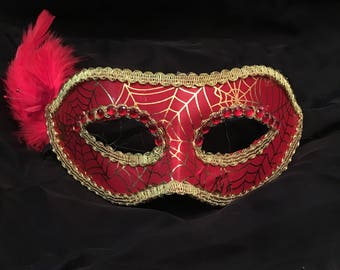 Spider Web Witch Demon Red Feather Masquerade Mask Halloween Fancy Dress Mask
