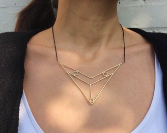 18K Gold Plated Necklace, Brass Necklace, Contemporary Jewelry, Geometric Design, Contemporary Necklace, Modern Necklace, Modern Jewelry