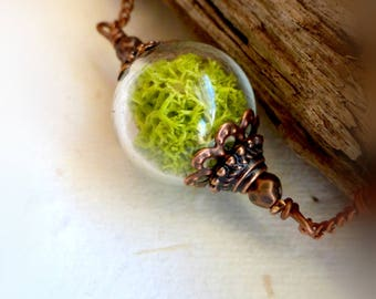 Real moss choker Woodland  plant jewelry  Green terrarium necklace  Nature rustic pendant Bridesmaids gift Gift for bridesmaid Gift for her
