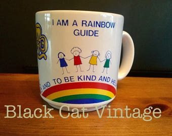 Rare, Collectable,  Rainbow, Guide, Mug, Vintage, Retro, white, unused, Girl Guides, Brownies,