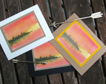 Greeting card - Sunset on the lake, blank card, nature card, landscape card, watercolour card