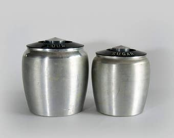 Vintage Kromex Set of Two (2) Aluminum Canister Flour Sugar Containers with Black Lids
