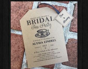 Rustic Tea Party Bridal Shower Invitations