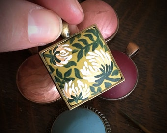 One Of A Kind ~ Hand Made Floral Pendent, in Citron Green Clay, set in 1 inch, antiqued brass on 18 or 24 inch, brass, chain.