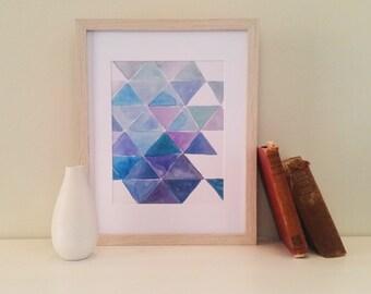 Blue Triangles Watercolour Print (8x10inch) home decor, wall art, office print, modern art, abstract art