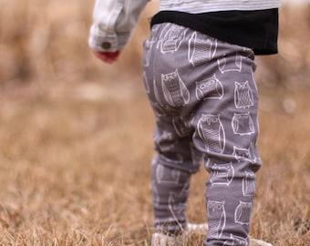 Baby Leggings -Baby Shower Gift - Baby Boy Leggings - Baby Girl Leggings - Owl Leggings - Tribal Leggings - Gray Leggings