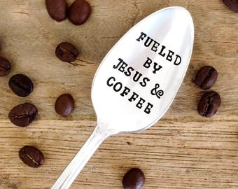 Fueled By Jesus & Coffee. Christian Gifts, Stamped Spoon. Present for Pastor, Minister, for her. By Milk and Honey ®