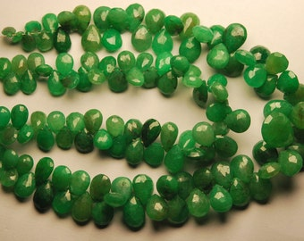 8 Inch Strand,Superb-Finest Quality,Dyed Natural Green Ruby Faceted Pear Shape Briolettes, 8-5mm size