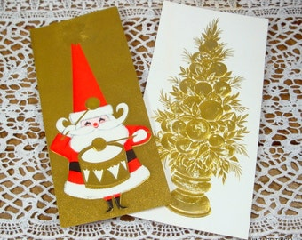 Set Of 2 Gold, Embossed Christmas Greeting Cards, Happy New Year, Topiary, Santa Claus, Hallmark  (91-14)