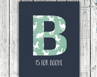 Nursery Art Monogram, Dinosaurs, Navy and Mint, Baby Boy, Personalized, Digital Download Size 8x10 #4
