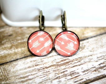 Salmon Arrow Earrings Stud Earrings, Bronze Ear Posts, Bronze Leverback