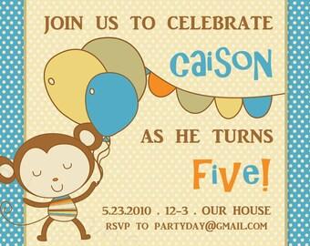 Monkey Party Einladung Geburtstag--Monkey Business