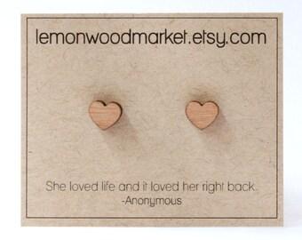 Heart earrings - alder laser cut wood earrings