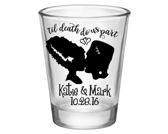 200x Custom Shot Glasses Halloween Wedding Favors | 1.75 oz Clear | 'Til Death Do Us Part (2A) | Choose Imprint Color | READ DESCRIPTION