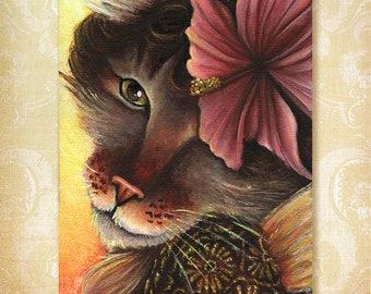 Hibiscus Fairy Maine Coon Cat Flower Fantasy Art 5x7 Fine Art Print