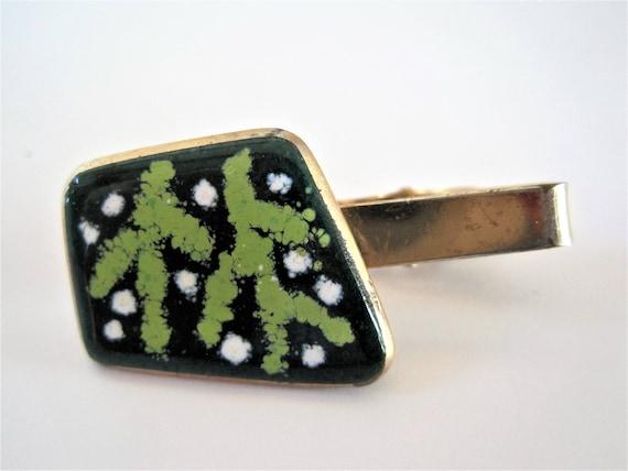 Green Enamel Tie Bar, Mid Century,   Light Green Cactus, Dark Green Background, Gift for Man