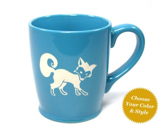 FREE PERSONALIZING - Fox Mug - Choose Your Cup Color