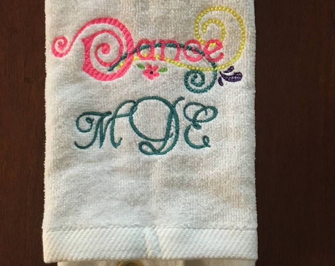 gymnastics, dance, personalized, gymnastics towel, custom towel,