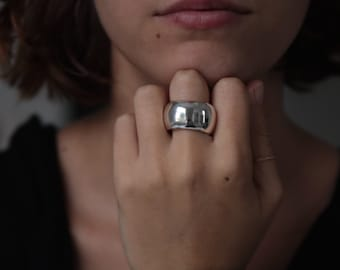 STATEMENT RING Large Sterling Silver Chunky Ring