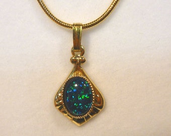 Vintage style Gold Plate Pendant. Synthetic Opal Triplet 8x6mm Oval. item 30997.