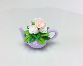 Miniature lilac teapot with flower bouquet for 1:12 scale dollhouse made from polymer clay