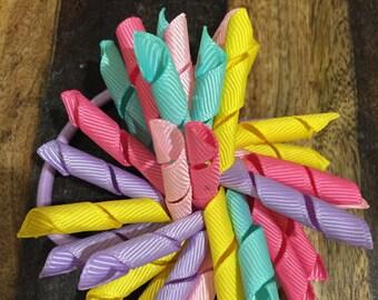 Multicolor korker hair tie, Hair bow, Korker ponytail holder, Easter colors hair tie