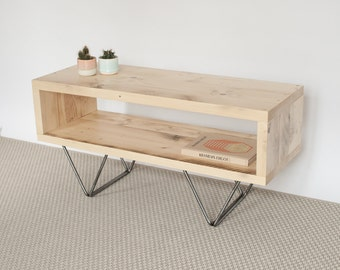 Sophie Reclaimed Wood TV Stand   TV Cabinet   Hairpin Legs   Scandinavian Style   Living Room   Side Table