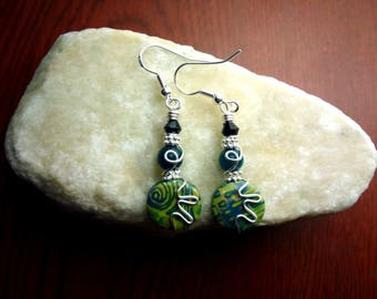 Green and Silver Wire Wrapped Polymer Clay Earrings