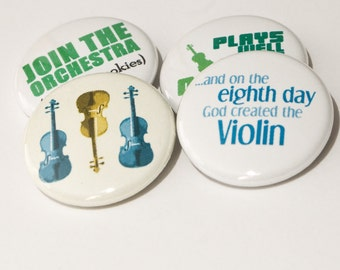 Violin and Orchestra 1 inch buttons or magnets - set of four - VLN 3