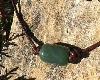 Washington Jade Bead and Leather Necklace