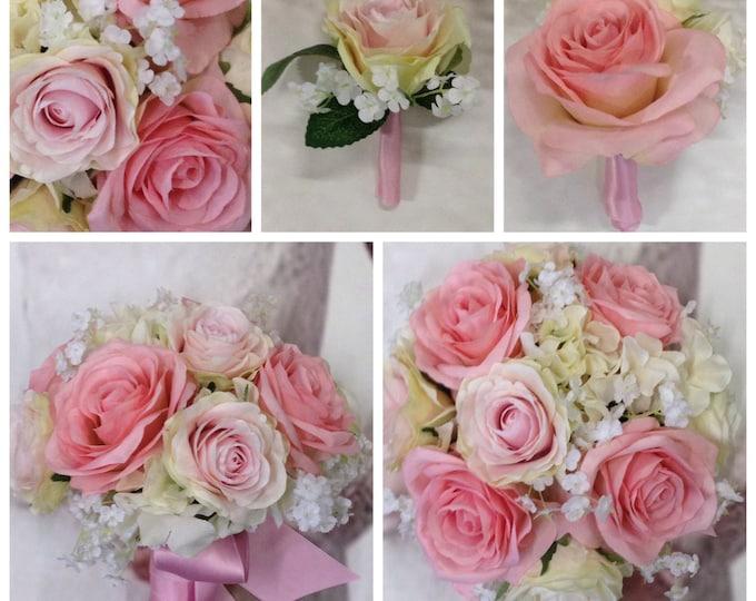"New Custom ""Lizzy"" Pink Silk Bridal Bouquet, Tickled Pink Bridal Bouquet, Pink Wedding Flowers"