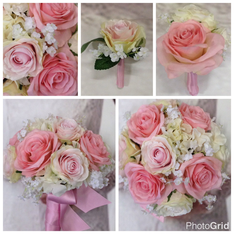 New Custom Lizzy Pink Silk Bridal Bouquet, Tickled Pink Bridal ...