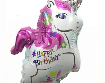 Happy Birthday Unicorn White Mylar Balloon Party Supplies Decoration Celebration 38cm x 28cm HB0520