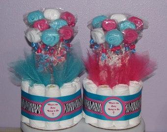 Washcloth Lollipop Diaper Bouquet - Baby Shower Table Centerpiece, Diaper Bouquet, Diaper Centerpiece, Baby Centerpiece, Washcloth Lollipops