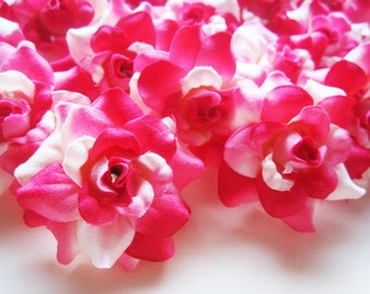 24 White Pink mini Roses Heads - Artificial Silk Flower - 1.75 inches - Wholesale Lot - for Wedding Work, Make clips, headbands