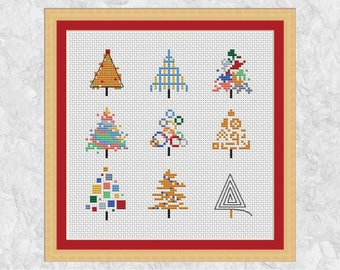 Modern Christmas cross stitch pattern, Christmas card motifs, cute mini Christmas trees, small, easy, simple, fun xmas instant download PDF
