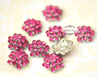 Rhinestone Metal Flatback Embellishment Button Hot PINK 20pcs RD64 Crystal DIY invitations flowers weddings bouquet brooch bling