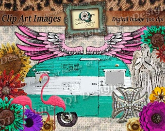 BOHO Western Clipart Pack Turquoise Painted Camper Flamingos Bling Cross Angelic Statue Pink Eagle Wings Mix