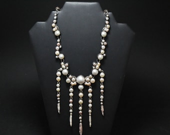 STUNNING Echo of the Dreamer Pearl Statement Necklace, Designer Sterling Silver Statement Necklace, Huge Sterling Necklace