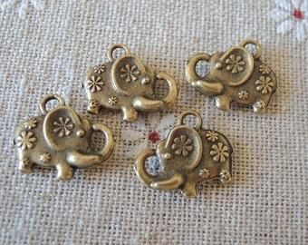 15pcs 16x13mm  Antique Bronze elephant  bead with flower ( A167)