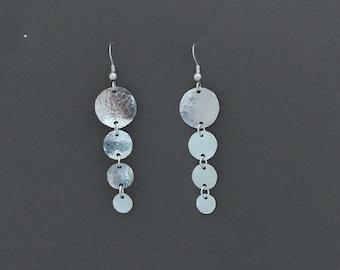 Long Silver Earrings, Hammered Circles Earrings, Lightweight Earrings, Sterling Silver Circles Earrings, Women Earrings