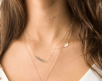 Set 912 • Delicate Necklace Set w/ Bird Necklace and Gemstones and initial necklace, 14K Gold Fill Layering Necklaces, Simple Gold Necklaces