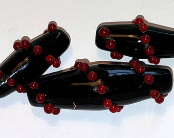 Black bicone with red dot handmade lampwork glass beads