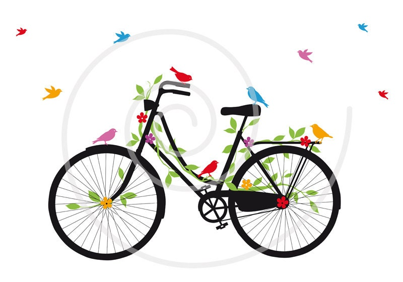vintage bicycle with birds leaves and flowers digital clip art rh etsystudio com  tandem bicycle clipart