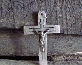 Crucifix Brass cross Antique cross Vintage patina old cross Pendant Christian Cross Archaeology cross Ancient cross Catholic Rare Cross
