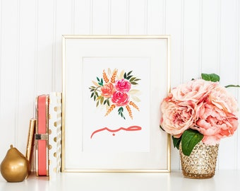 "Floral Watercolour ""Sabr"" Print"