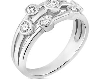 Raindance Inspired CZ Diamond Bubble Ring set in 925 Silver